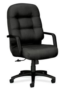 HON PillowSoft Executive High-Back Chair Tectonic Charcoal Wine Front Side View H2091.H.NT19.T