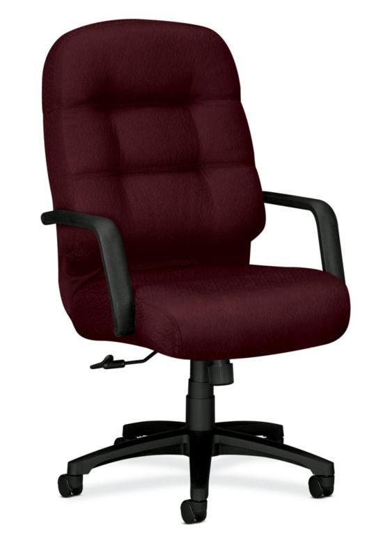 Beau HON PillowSoft Executive High Back Chair Tectonic Wine Front Side View  H2091.H.