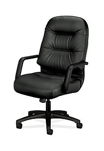 HON PillowSoft Executive High-Back Chair Black Leather Front Side View H2091.H.SR11.T