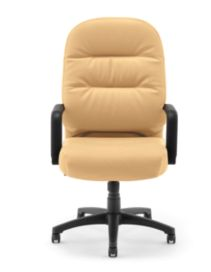 HON PillowSoft Executive High-Back Chair Whisper Vinyl Camel Front View H2091.H.WP18.T