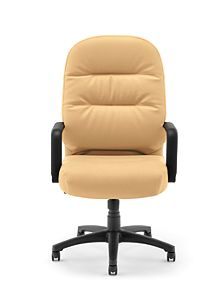 HON PillowSoft Executive High-Back Chair Whisper Vinyl Camel Front View H2091.H.WP18.T