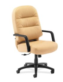HON PillowSoft Executive High-Back Chair Whisper Vinyl Camel Front Side View H2091.H.WP18.T