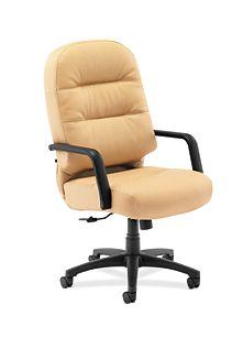 HON PillowSoft Executive High-Back Chair Whisper Vinyl Camel Front Side View H2091.H.WP18.T
