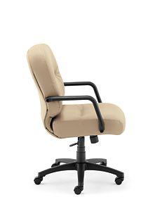 HON PillowSoft Managerial Mid-Back Chair Whisper Vinyl Antelope Side View H2092.H.WP20.T