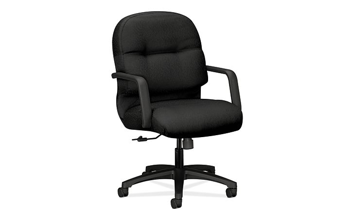 HON PillowSoft Managerial Mid-Back Chair Tectonic Black Front Side View H2092.H.NT10.T