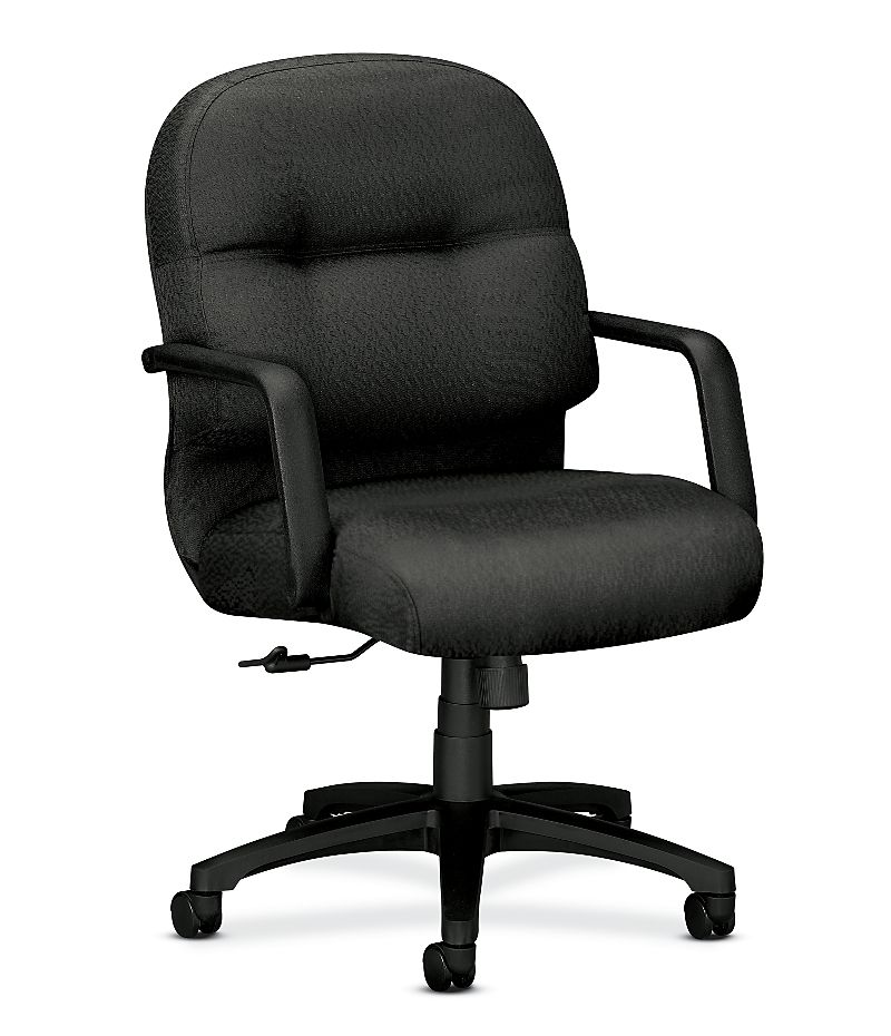 HON PillowSoft Managerial Mid-Back Chair Tectonic Charcoal Front Side View H2092.H.NT19.T
