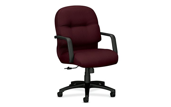 HON PillowSoft Managerial Mid-Back Chair Tectonic Wine Front Side View H2092.H.NT69.T