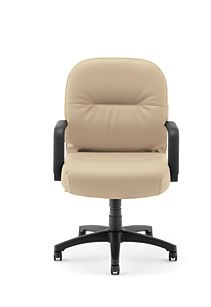 HON PillowSoft Managerial Mid-Back Chair Whisper Vinyl Antelope Front View H2092.H.WP20.T