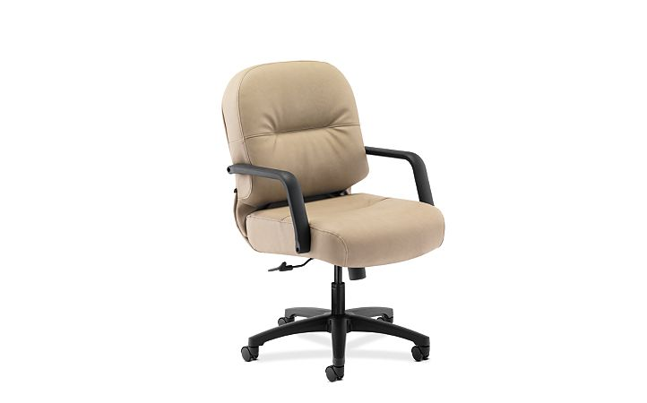 HON PillowSoft Managerial Mid-Back Chair Whisper Vinyl Antelope Front Side View H2092.H.WP20.T