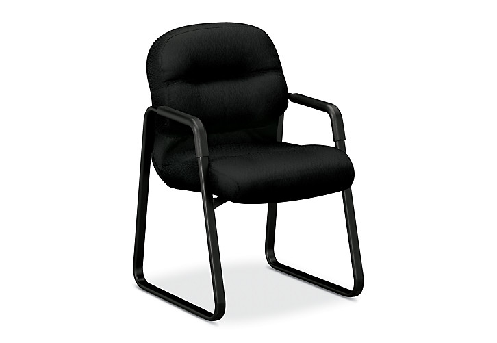 HON PillowSoft Guest Chair Tectonic Black Front Side View H2093.NT10.T
