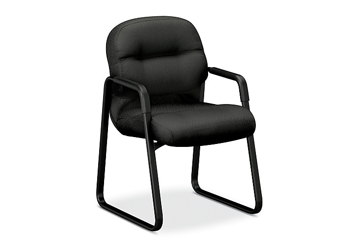 HON PillowSoft Guest Chair Tectonic Charcoal Front Side View H2093.NT19.T