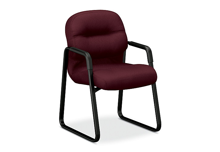HON PillowSoft Guest Chair Tectonic Wine Front Side View H2093.NT69.T