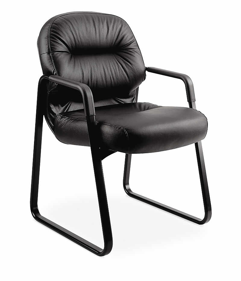 hon guest chairs. HON PillowSoft Guest Chair Black Leather Front Side View H2093.SR11.T Hon Chairs