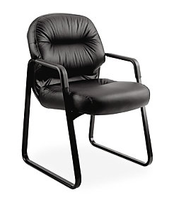 HON PillowSoft Guest Chair Black Leather Front Side View H2093.SR11.T