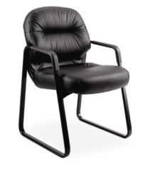 HON PillowSoft Guest Chair Black Leather Front Side View H2093.SR11.T