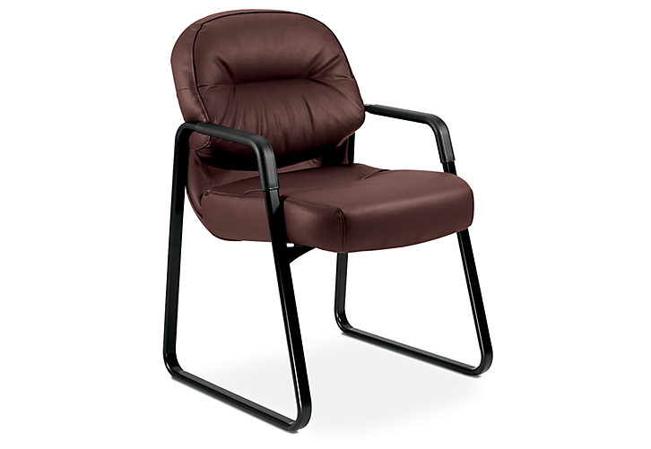 HON PillowSoft Guest Chair Burgundy Leather Front Side View H2093.SR69.T