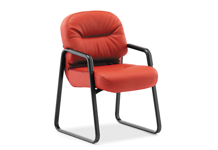 HON PillowSoft Guest Chair Whisper Vinyl Sangre Front Side View H2093.WP42.T
