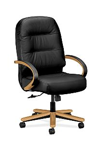 HON PillowSoft Executive High-Back Chair Black Leather Harvest Finish Front Side View H2191.C.SR11