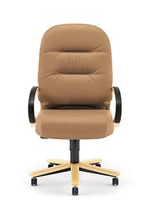 HON PillowSoft Executive High-Back Chair Whisper Vinyl Cappuccino Natural Maple Finish Front View H2191.D.WP21