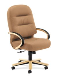 HON PillowSoft Executive High-Back Chair Whisper Vinyl Cappuccino Natural Maple Finish Front Side View H2191.D.WP21