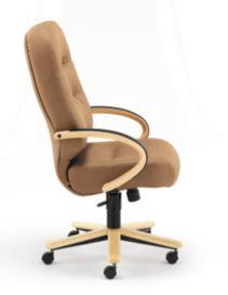 HON PillowSoft Executive High-Back Chair Whisper Vinyl Cappuccino Natural Maple Finish Side View H2191.D.WP21