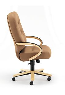 HON PillowSoft Executive High-Back Chair Whisper Vinyl Cappuccino Natural Maple Finish Side View H2191.D.WP21