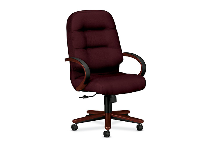 HON PillowSoft Executive High-Back Chair Tectonic Wine Mahogany Finish Front Side View H2191.N.NT69