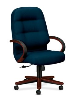HON PillowSoft Executive High-Back Chair Tectonic Mariner Mahogany Finish Front Side View H2191.N.NT90