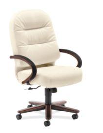 HON PillowSoft Executive High-Back Chair Whisper Vinyl Brilliant White Front Side View H2191.Z.WP16