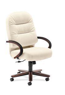 HON PillowSoft Executive High-Back Chair Whisper Vinyl Brilliant White Front Side View H2191.Z.WP16