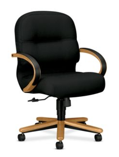 HON PillowSoft Managerial Mid-Back Chair Tectonic Black Harvest Finish Front Side View H2192.C.NT10