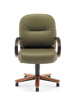 HON PillowSoft Managerial Mid-Back Chair Whisper Vinyl Forrest Bourbon Cherry Finish Front Side View H2192.H.WP82