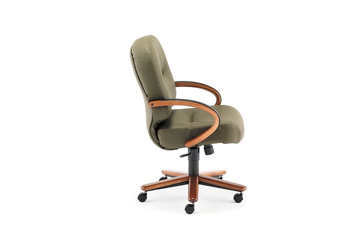 HON PillowSoft Managerial Mid-Back Chair Whisper Vinyl Forrest Bourbon Cherry Finish Side View H2192.H.WP82