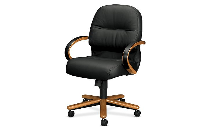 HON PillowSoft Managerial Mid-Back Chair Black Leather Front Side View H2192.M.SR11