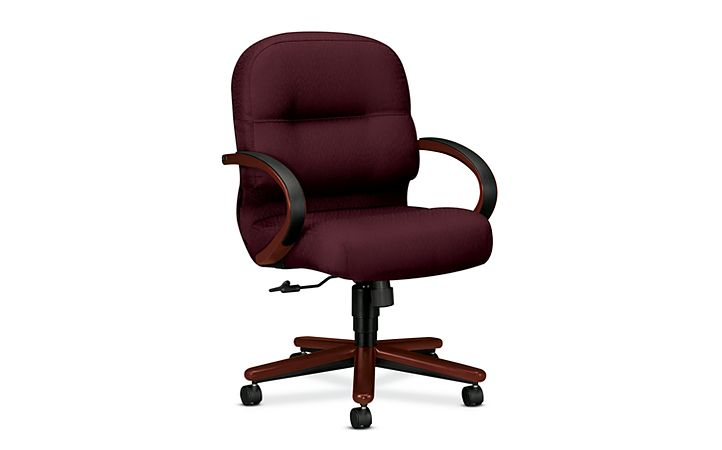 HON PillowSoft Managerial Mid-Back Chair Tectonic Wine Mahogany Finish Front Side View H2192.N.NT69