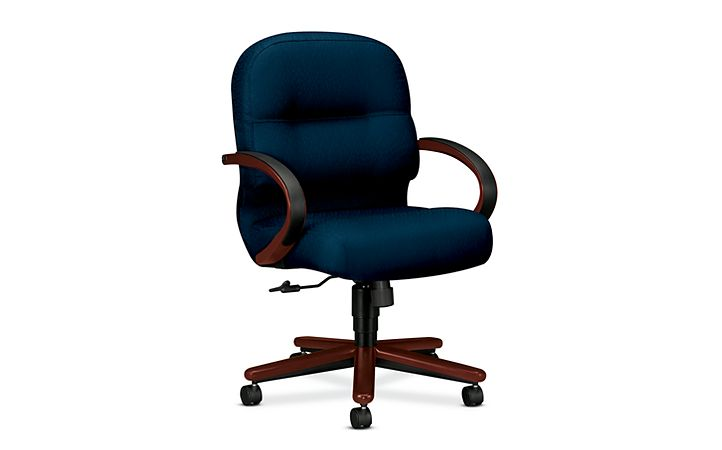 HON PillowSoft Managerial Mid-Back Chair Tectonic Mariner Mahogany Finish Front Side View H2192.N.NT90