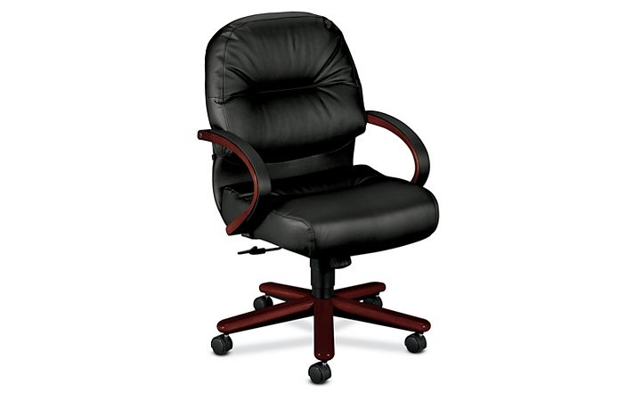HON PillowSoft Managerial Mid-Back Chair Black Leather Mahogany Finish Front Side View H2192.N.SR11