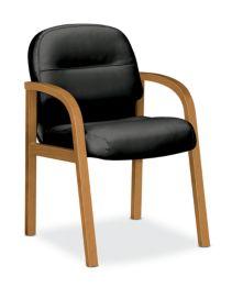 HON Pillow Soft Guest Chair Black Leather Harvest Finish Front Side View H2194.C.SR11