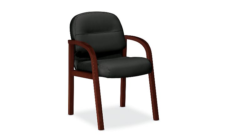 HON Pillow Soft Guest Chair Black Leather Mahogany Finish Front Side View H2194.C.NT10