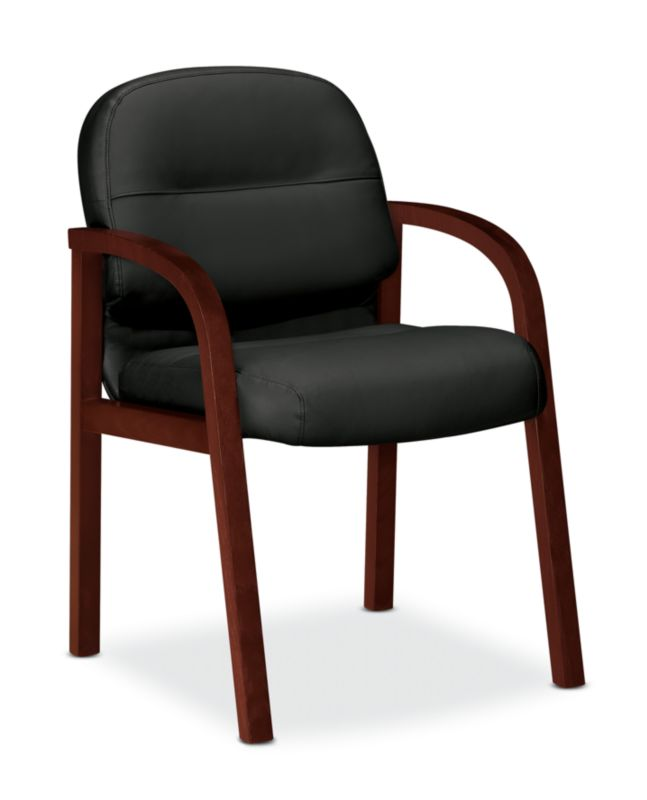 Bon HON Pillow Soft Guest Chair Black Leather Mahogany Finish Front Side View  H2194.C.