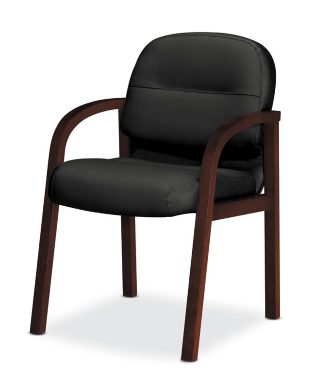 HON Pillow Soft Guest Chair Black Leather Mahogany Finish Front Side View  H2194.N.