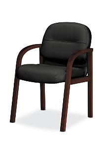 HON Pillow Soft Guest Chair Black Leather Mahogany Finish Front Side View H2194.N.SR11