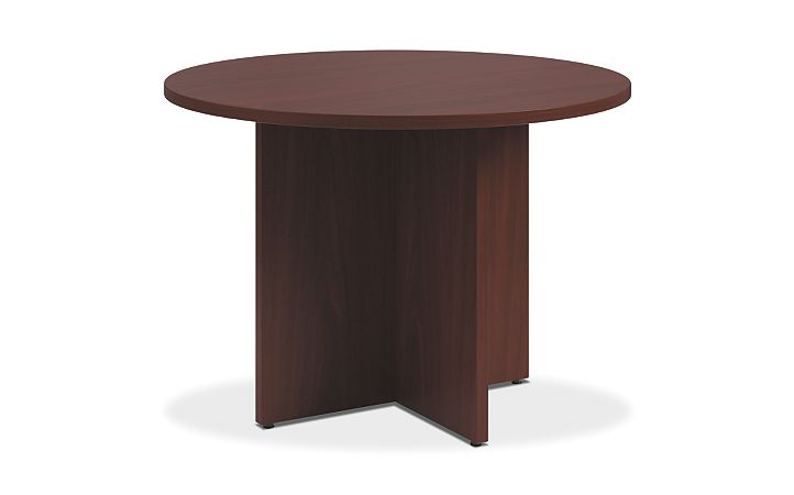 HON Preside Round Table with X-Base Mahogany HTLD42XPN