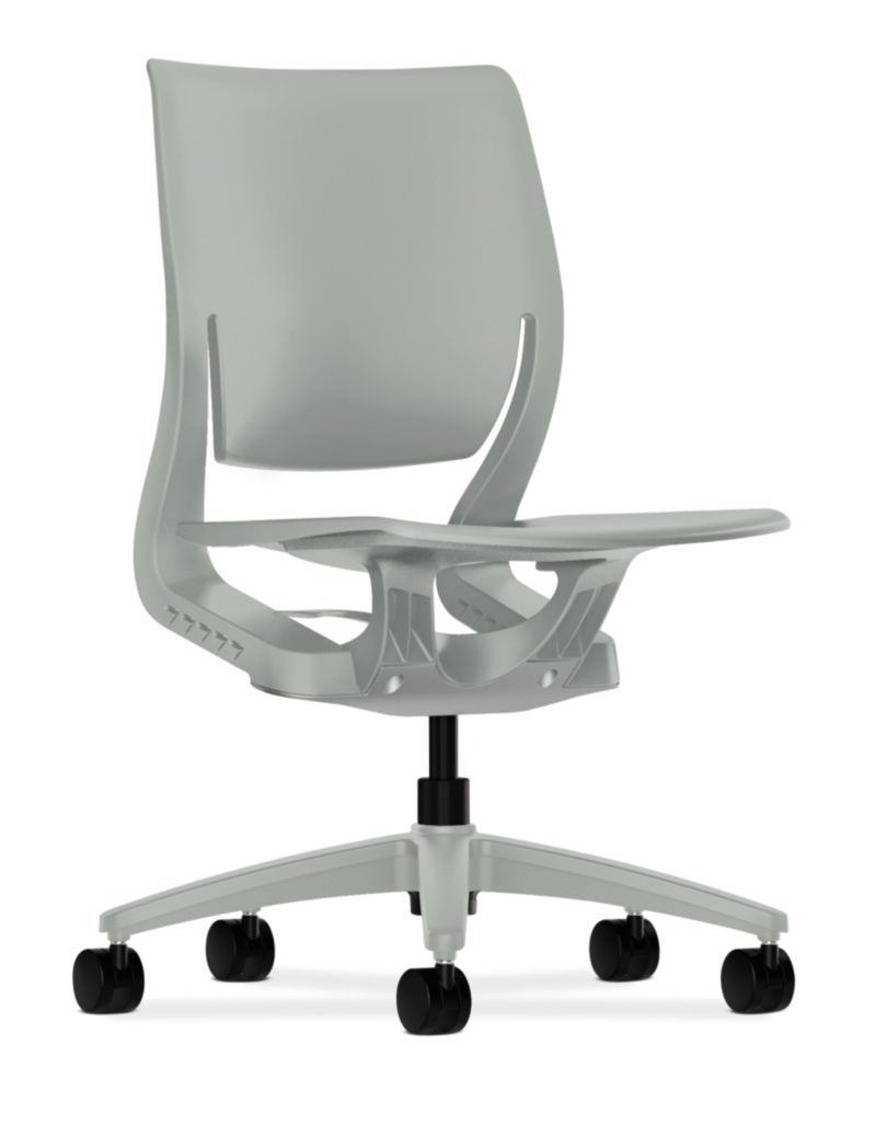 HON Purpose Task Chair Platinum Color Fixed Arms Front Side View HR1.P.H.PT.PLAT
