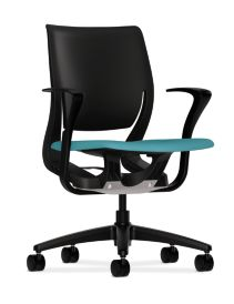 HON Purpose Upholstered Seat Task Chair Centurion Glacier Color Fixed Arms Front Side View HR1.S.FBLK.H.ON.CU96.T