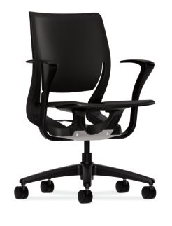 HON Purpose Task Chair Black Fixed Arms Front Side View HR1P.FBLK.H.ON.T