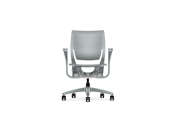 HON Purpose Task Chair Platinum Color Fixed Arms Side View HR1P.FPLT.H.PT.PLAT