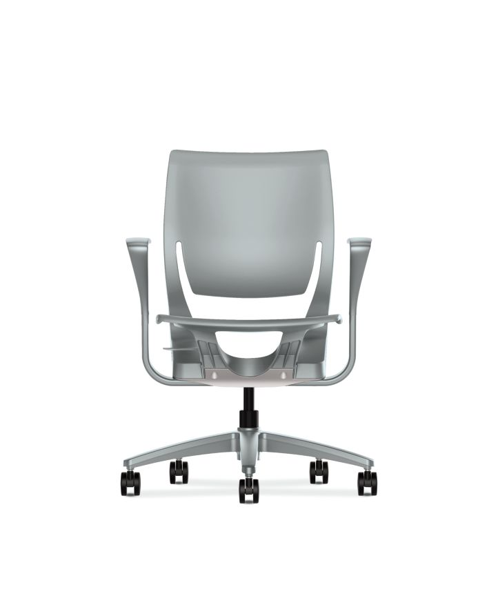 HON Purpose Task Chair Platinum Color Fixed Arms Side View HR1P.FPLT.H.PT.PLAT