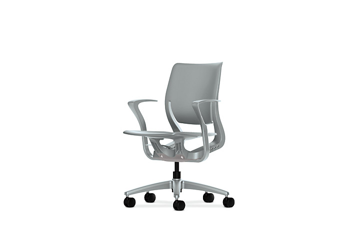 HON Purpose Task Chair Platinum Color Fixed Arms Front Side View HR1P.FPLT.H.PT.PLAT