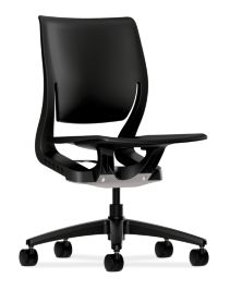 HON Purpose Task Chair Black Color Armless Front Side View HR1P.H.ON.T